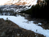 3 steps in break - Near top of firebreak - went left on a cleared trail over to drainage - ski trees along creek into valley.