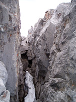 In this slot- up over the big chockstone or I climbed the right side.