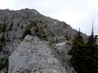 Trail goes up scree on edge of trees to left of buttress.