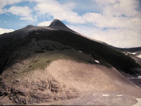 Dave's pic of end of ridge in summer 1976. We carried skis -angled left above rock- then up ridge.