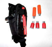 Case, pen and flares-bangers weigh 130 gms. Bangers are orange-flares are red. Case clips to pack shoulder strap.