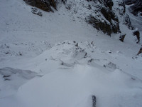 Some people left early - tracks in down gully scree.