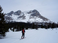 Ski up Lake Louise skiout from Fish creek park lot and past Temple lodge on Skoki trail.